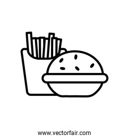 hamburger and french fries icon, line style