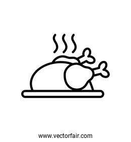 hot roasted chicken icon, line style