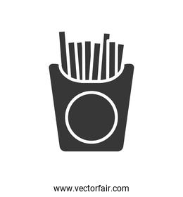french fries box icon, silhouette style