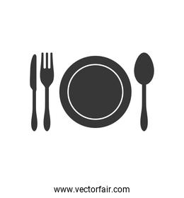 dish and cutlery icon, silhouette style
