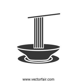 dish with spaguettis icon, silhouette style