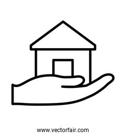hand with house icon, line style