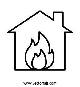 house with flames icon, line style