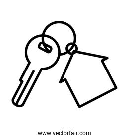 key with house shape keychain icon, line style
