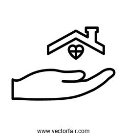 hand with house roof and heart icon, line style