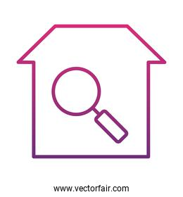 house with magnifyign glass icon, gradient style