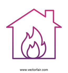 house with flames icon, gradient style