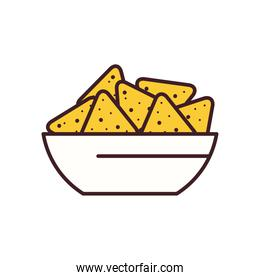 nachos bowl line and fill style icon vector design