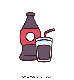 soda bottle and glass drink line and fill style icon vector design