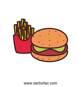 hamburger and french fries line and fill style icon vector design