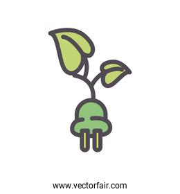 eco plug with leaves line and fill style icon vector design