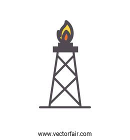 flame tower line and fill style icon vector design