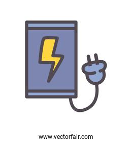 smartphone with plug line and fill style icon vector design