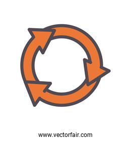 eco recycle arrows line and fill style icon vector design