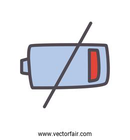 low battery line and fill style icon vector design