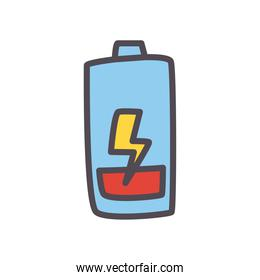 low battery with thunder line and fill style icon vector design