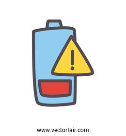 low battery with warning banner line and fill style icon vector design