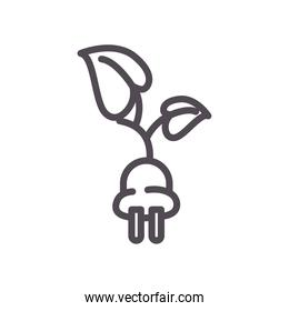 eco plug with leaves line style icon vector design