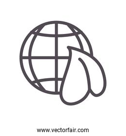 Global sphere with leaf line style icon vector design