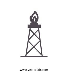 flame tower line style icon vector design