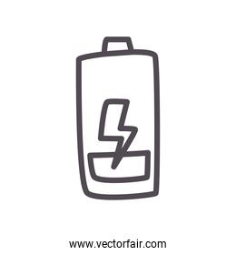 low battery with thunder line style icon vector design