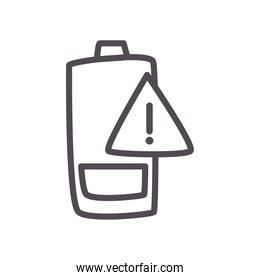 low battery with warning banner line style icon vector design