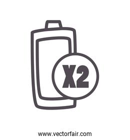battery x2 line style icon vector design