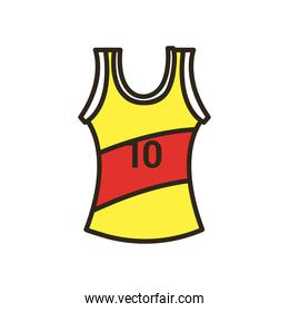 shirt of basketball line and fill style icon vector design
