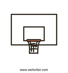 backboard of basketball line and fill style over white icon vector design