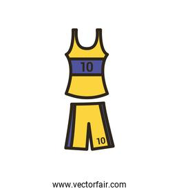 shirt and short of basketball line and fill style icon vector design