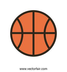 ball of basketball line and fill style icon vector design