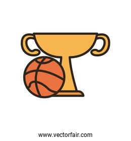 ball with trophy of basketball line and fill style icon vector design