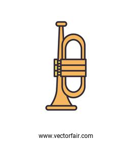 trumpet instrument line and fill style icon vector design