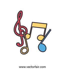 music notes line and fill style icon vector design