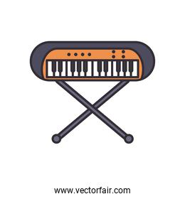 keyboard instrument line and fill style icon vector design