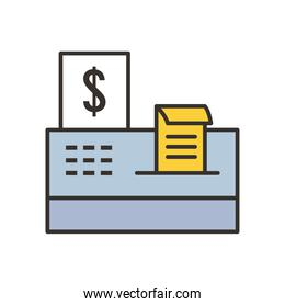 cash register line and fill style icon vector design