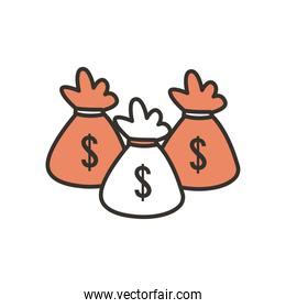 money bags line and fill style icon vector design