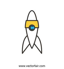 rocket line and fill style icon vector design