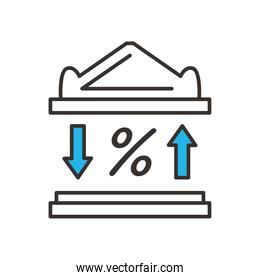 bank building and percentage line and fill style icon vector design