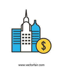 dollar coin and city buildings line and fill style icon vector design