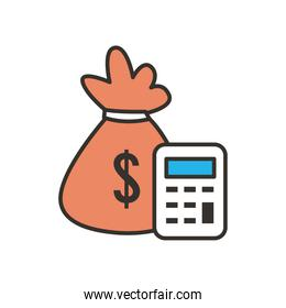 money bag and calculator line and fill style icon vector design