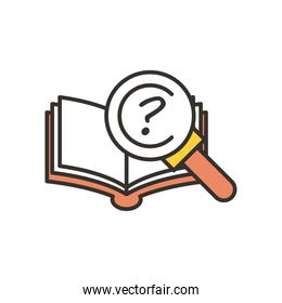 question mark inside lupe and book line and fill style icon vector design