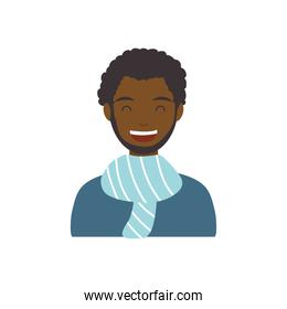 diversity people concept, cartoon man smiling and wearing a scarf, flat style