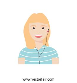 diversity people concept, cartoon woman with earphones, flat style