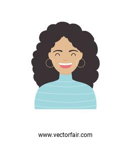 diversity people concept, cartoon woman with curly hair, flat style