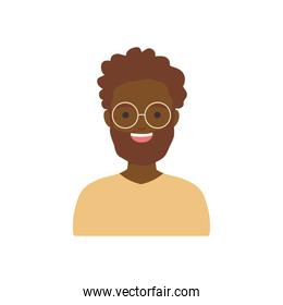 diversity people concept, cartoon afro man wearing round glasses, flat style