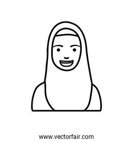 diversity people concept, cartoon woman with burka, line style