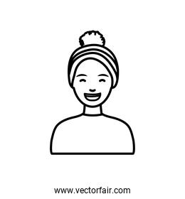 diversity people concept, cartoon woman smiling and wearing snow hat, line style