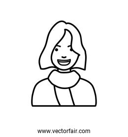 diversity people concept, cartoon woman smiling icon, line style
