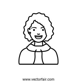 diversity people concept, cartoon young woman wearing a hoodie, line style